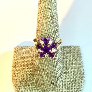 14K Gold Jaylen Amethyst Diamond Cocktail Ring
